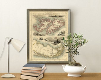Map of Falkland Islands, Map of Patagonia - Old map restored - Fine print