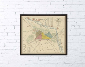 "Buzau map - Old map of Buzau - Harta Buzau -    Historic map reproduction - 16 x 18.5 "" - Print"