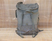 Vintage Military Large Size  Washed Out Green Canvas Backpack Rucksack Extendable