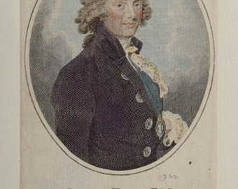 "Antique Etching ca. 1786 "" James KING Esqr. Master of the Ceremonies "" Bath, England, W. Taylor"