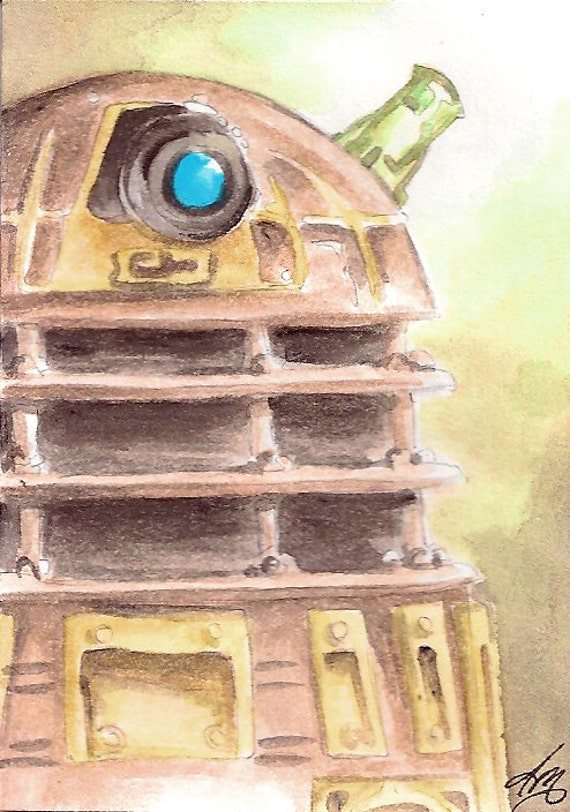 Light of the Dalek, t Dr Who original Fan Art Watercolor and pencil on Bristol ACEO Artist Trading Card
