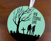 Our Eternal Love Christmas Ornament - Zombie Couple - Custom Porcelain Newlyweds Married Holiday Gift - orn332 - Peachwik