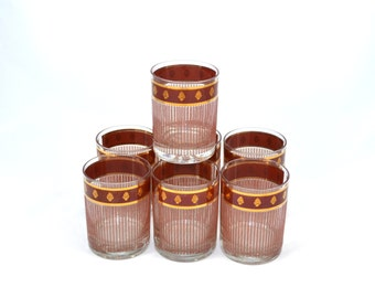 Burgundy Low Ball Glasses Pineapple Glasses Georges Briard Glassware Mid Century Cocktail Glasses Set of 7