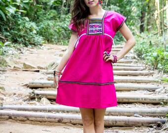 Karen Mini Dress-PINK / Ethnic/Short dress/Whole sale/Folk