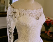 Lace Wedding Gown, Bridal Gown, Ivory Sweetheart Neckline, A-line Satin Skirt, Vintage Inspired, Off Shoulder. Custom made. Sizes 2-20