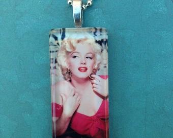Marilyn Monroe  Long Glass Tile Pendant with Ballchain