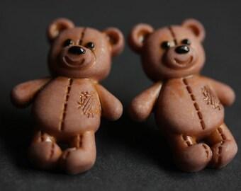 Teddybear Earrings. Bashful the Bear Button Earrings. Teddy Bear Earrings. Stud Earrings. Brown Earrings. Post Earrings. Handmade Jewelry.