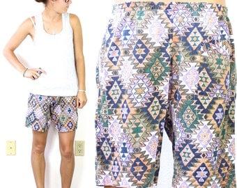 CLEARANCE Vintage Retro Aztec Cotton Shorts