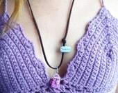 Wandelust Druzy necklace. Purple Agate Druzy necklace. Druzy gemstone Bohemian necklace. Wandelust Dark Brown Suede cord. Quartz necklace