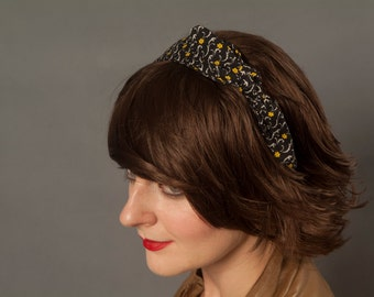 Headband - Black with Yellow Flowers