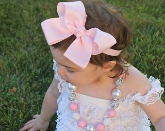 Big Bow Headband - Big Pink Baby Bow Headband - XXL Baby Bow