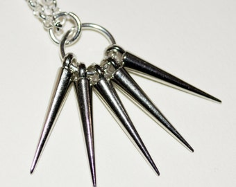 Spike Necklace, Silver Spikes, Modern Necklace, Urban Jewelry, Multi Spike Necklace, Modern Jewelry, Punk Spike Jewelry, Spiky Necklace