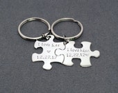 I love her I love him, Puzzle piece keychain Set, His and Hers, Date Keychain, Couple Keychain, Valentines Gift, Valentines Gift