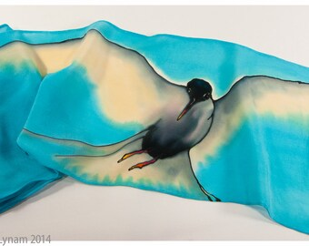 "SALE~Silk scarf hand-painted. Arctic Tern scarf. 8""x52"" crepe silk. Painted silk scarves. Handpainted silk scarves. Hand painted Silk scarf."