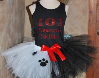 COMPLETE SET Ladies Womens Adult 101 Reasons to Run Running Marathon Cruella De Vil Villain Inspired Disney Tutu Skirt Top Shirt Costume Run