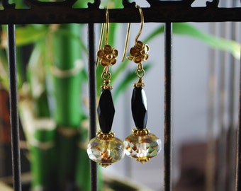 Czech black and gold earrings, vermeil earrings, black earrings, SRAJD