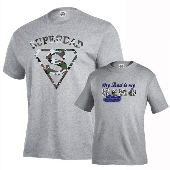 Usaprint Fathers Day Dad T Shirt My Dad My Hero Design T: Matching Father And Son T Shirts Set, Super Army Dad, My