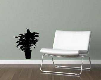 Houseplant Vinyl Wall Decal - Houseplant Silhouette Style A Wall Decal - Plant Decor 22514