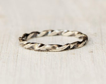 Hand Twisted Sterling Silver RIng  - Reclaimed Sterling Silver - Eco Friendly - Recycled - Modern Jewelry - Simple Band