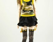 Outfit: top, skirt, and stockings, for MSD BJD / Obitsu body 1/3 (47 cm/18,5 in)