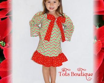Christmas Chevron Dress Toddler
