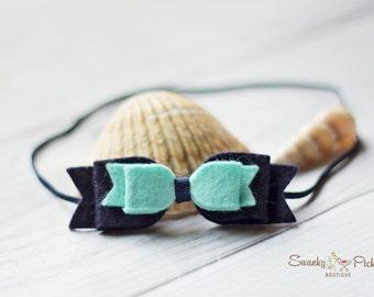 Felt Bow Headband - Mint Green Navy Hair Bow - Wool Felt - Newborn - Infant - Baby - Toddler - Girls - Felt Bow Hair Clip - Double Bow