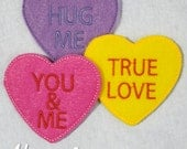 Candy Hearts Feltie Embroidery Designs, valentines feltie, heart feltie, valentine, machine embroidery, ITH, in the hoop, 4x4, candy heart