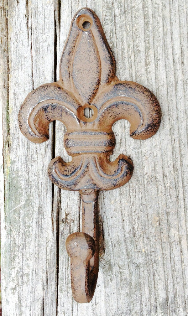 Cast iron fleur de lis wall hook coat hook towel hook - Fleur de lis coat hook ...