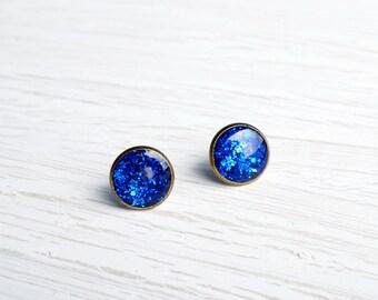 Large Blue Glitter Stud Earrings