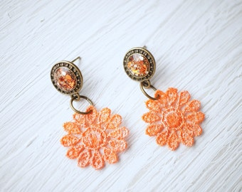 Orange Glitter and Lace Earrings