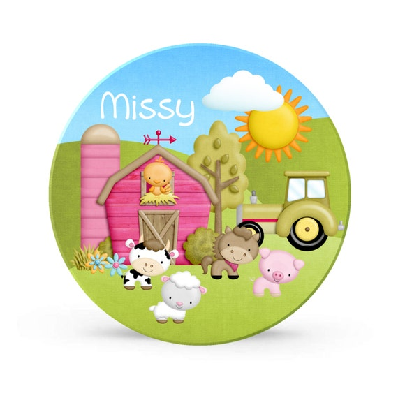 Kids Personalized Plate - Barn Farm Animals Party Melamine Plate for Girls - Horse and Cow Plastic 10 inch Plate
