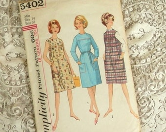 Vintage 1964 House Dress Pattern Simplicity 5402 Womens Size 14