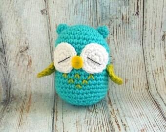 Crochet Amigurimi Owl - Sleepy Owl - Plush Crochet Toy - Stuffed Owl - Crochet Owl Plush - Mini Crochet Animals - Woodland Amigurumi Bird