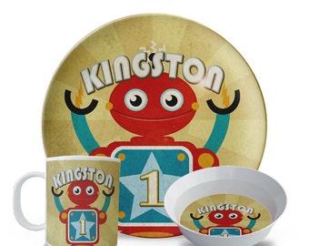 Childs Personalized Plate Set, Robot Melamine Plate Set, Personalized Child's Space Birthday Plate, Bowl, Mug Set