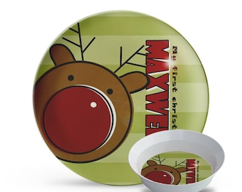Childrens Christmas Plate and Bowl Set, First Christmas Plate Set, Personalized Reindeer Melamine Dish, Holiday Melamine 2 Piece Plate Set