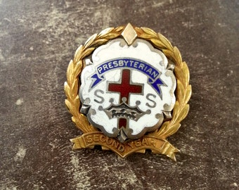 Vintage Baptist Second Year Pin Sterling Silver Presbyterian Sunday School award Robbins Co midcentury enamel religious jewelry brooch gold