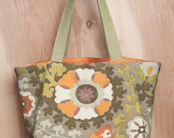 Tote bag- Cotton- Green Paisley- Purple- Orange- by beckyzimmdesign