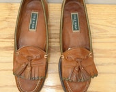 Sz 9.5 COLE HAAN Vintage Brown & Green Leather Tassel Shoes MEN