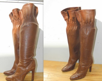 """21"""" Sz 7 CASADEI Vintage Brown Tall Leather Boots WOMEN"""