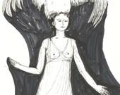 Drawing WOMAN WITH PELICAN // original ink sketches by Elisaveta Sivas // 5,5 x 7,5'