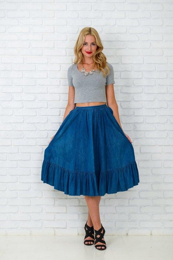 vintage 80s 90s blue jean skirt denim high waist by