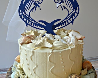 Sailfish-Marlin-fish-sport fishing-wedding-cake topper-beach-destination-fisherman-groom-bride-ocean-nautical-starfish-salt water-game fish