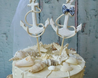 Anchor-wedding-cake topper-nautical-beach-themed-destination-sign-navy-bride-groom-beach chairs-Adirondack-chair-distressed-Mr and Mrs