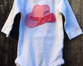 Baby onesie with hand sewn cowgirl/boy hat!