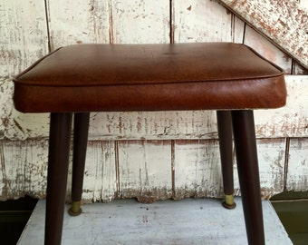 Retro stool Vinyl stool brown plastic hassock vintage vinyl ottoman