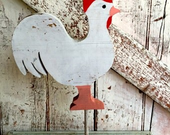 wooden rooster on stand primitive handmade rooster