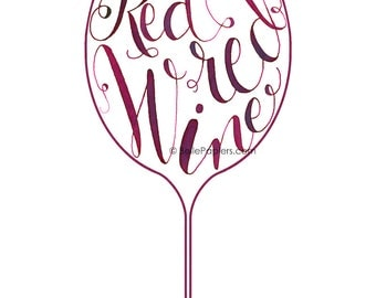 Red Red Wine Glass UB40 Red Red Wine Calligraphy Print Wine Decoration Wine Wall Art Kitchen Art Decoration Wall Art Purple Decorations
