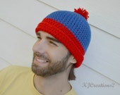 Fun red and blue beanie=Stan hat