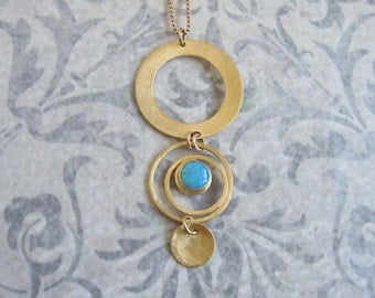 Gold circle pendant , Blue Opal gemstone necklace  , Opal jewelry , 14k gold filled Chain , Handmade by Adi Yesod