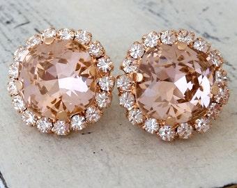 Rose gold blush earrings,Morganite bridal earring, blush pink crystal stud earrings,blush pink bridesmaids earring,Swarovski studs,rose gold